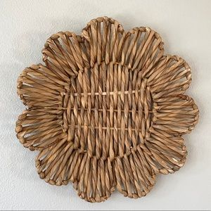 Boho woven flower shape basket tray or wall decor